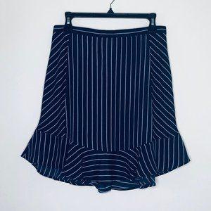 J. Crew | Navy Blue Pinstripe Ruffle Peplum Skirt